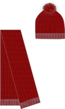 Kit cappello modello cuffia e sciarpa ido ROSSO-2536