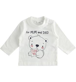 Graziosa maglietta girocollo 100% cotone per neonato ido PANNA-BLU-8132