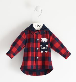 Camicia a quadri con cappuccio staccabile per neonato ido NAVY-3885