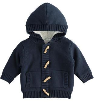 Giubbotto neonato blu 100% cotone con cappuccio e fodera interna ido NAVY-3885