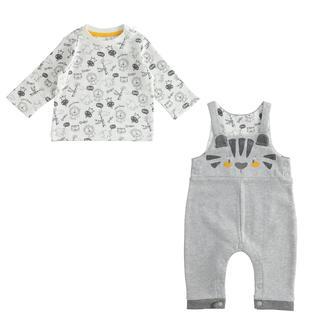 Simpatico completo per neonato maglietta e salopette ido GRIGIO MELANGE-8992