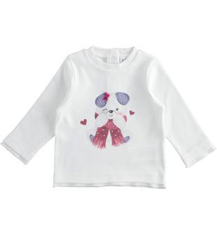 Maglietta girocollo per neonata con tenero orsetto ido PANNA-0112
