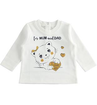 Maglietta girocollo 100% cotone per neonata ido PANNA-BLU-8132