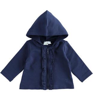 Felpa aperta con cappuccio e rouches per neonata ido NAVY-3854