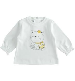 Maglietta girocollo 100% cotone con gattino per neonata ido PANNA-0112