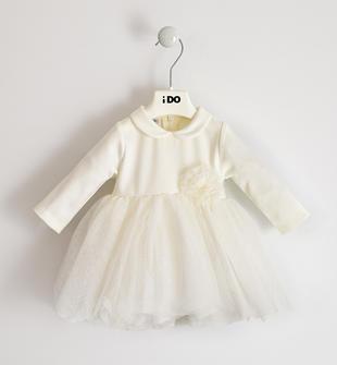 Elegante abito per neonata in punto milano con tulle ido PANNA-0112
