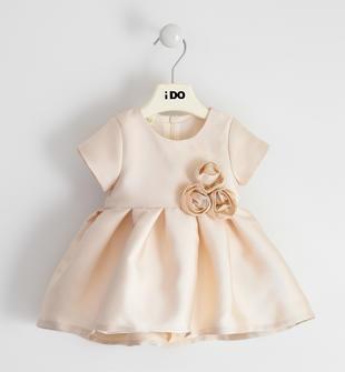 Raffinato ed elegante abito neonata in raso con fiori ido AVORIO-ORO-8168