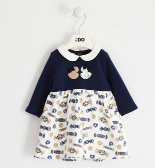 Delizioso abito neonata a manica lunga in felpa invernale di cotone ido NAVY-3854