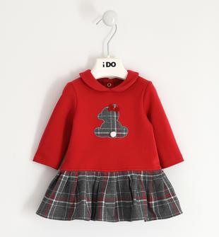 Grazioso abito per neonata con gonna fantasia check ido ROSSO-2253
