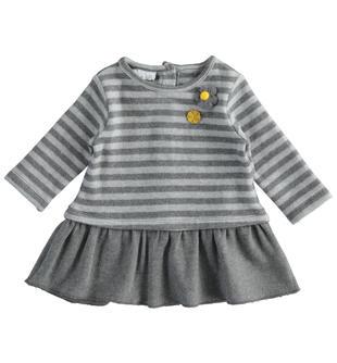 Morbido e caldo abito effetto tricot per neonata ido GRIGIO MELANGE-8993