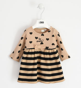 Abito effetto tricot con cuori per neonata ido BISCOTTO-NERO-6NG7