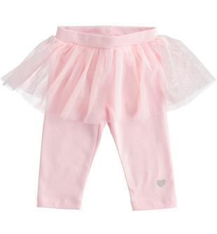 Pantalone in jersey invernale con tulle per neonata ido ROSA-2763