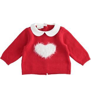 Maglia in tricot invernale con cuore per neonata ido ROSSO-2253