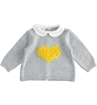 Maglia in tricot invernale con cuore per neonata ido GRIGIO MELANGE-8992