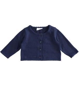 Cardigan in tricot stretch con cuori di strass ido NAVY-3854
