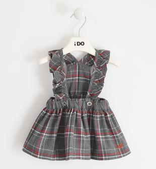 Gonna neonata con salopette 100% cotone tinto filo ido GRIGIO MELANGE-8970