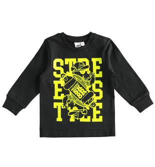 Maglietta girocollo back to school in jersey 100% cotone ido NERO-0658