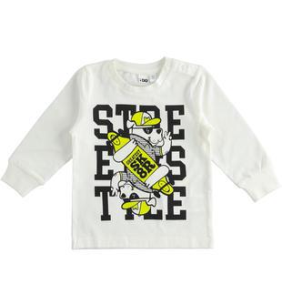 Maglietta girocollo back to school in jersey 100% cotone ido BIANCO-NERO-8057