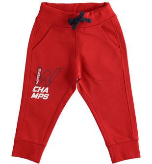 Pratico pantalone in felpa per la scuola ido ROSSO-2253