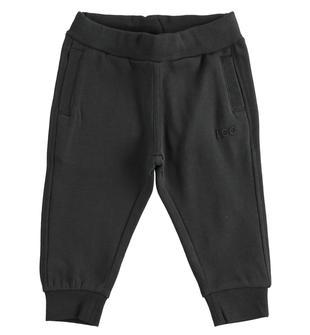 Comodo pantalone in felpa garzata per bambino ido NERO-0658