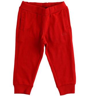 Comodo pantalone in felpa garzata per bambino ido ROSSO-2253