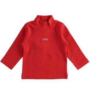 Comodo lupetto in interlock 100% cotone per bambina ido ROSSO-2253