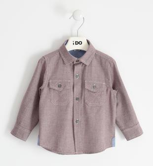 Camicia in tessuto pied de poule 100% cotone ido ROSSO-2536