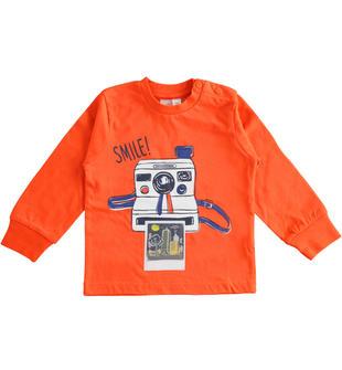 Maglietta girocollo 100% cotone a manica lunga per bambino ido ARANCIO-2213