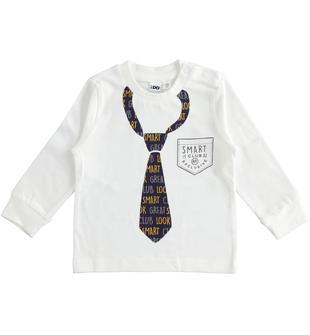 Girocollo 100% cotone con cravatta stampata ido PANNA-0112