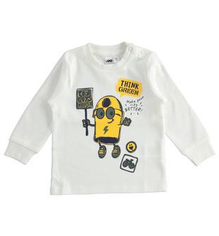 Maglietta girocollo bambino a manica lunga in interlock 100% cotone ido PANNA-0112
