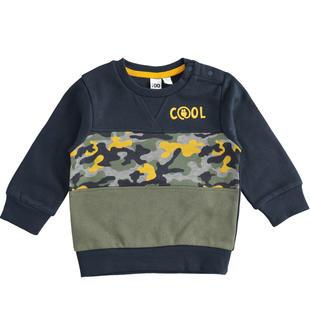 Maglia girocollo per bambino in felpa garzata misto cotone ido NAVY-3885