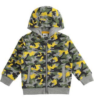 Felpa full zip camouflage ido GRIGIO-MULTICOLOR-6NT6