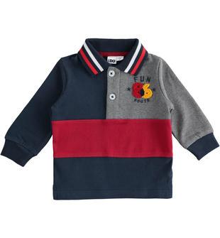 Polo in jersey pesante 100% cotone con ricamo punto spugna ido NAVY-3885