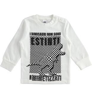 Girocollo in jersey 100% cotone tema dinosauri ido PANNA-0112