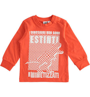 Girocollo in jersey 100% cotone tema dinosauri ido ARANCIO-2213