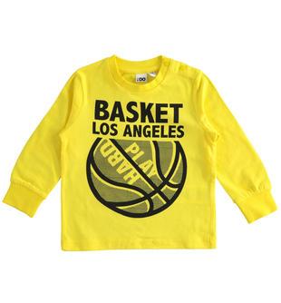 Maglietta girocollo tema basket ido GIALLO-1444