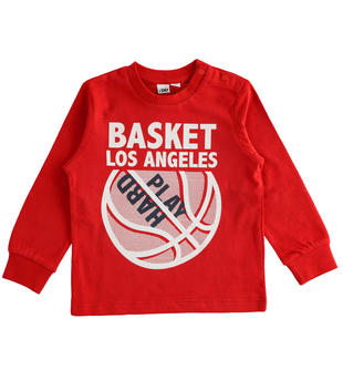 Maglietta girocollo tema basket ido ROSSO-2253
