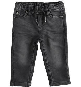 Pantalone bambino in denim maglia misto cotone stretch ido NERO-7990
