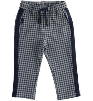 Pantalone bambino in felpa di cotone stampato con motivo a quadri ido GRIGIO-BLU-6NS5