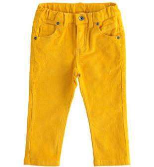 Pantalone in velluto modello cinque tasche ido GIALLO-1615