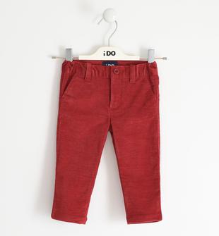 Pantalone in twill effetto fustagno ido ROSSO-2536