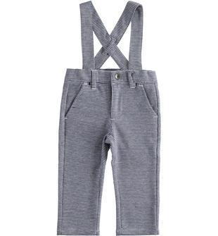 Pantalone in maglia jacquard con bretelle ido NAVY-3885