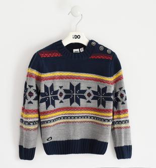 Maglia bambino in morbido tricot anallergico motivo norvegese ido NAVY-3885