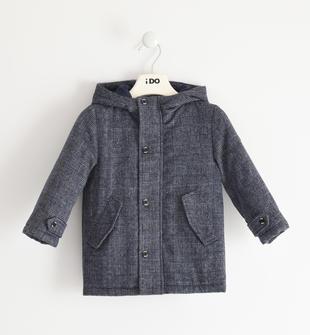 Giubbotto bambino modello montgomery in tessuto misto lana ido NAVY-3854