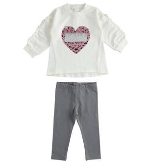 Completo bambina in cotone stretch con t-shirt e leggings ido PANNA-0112