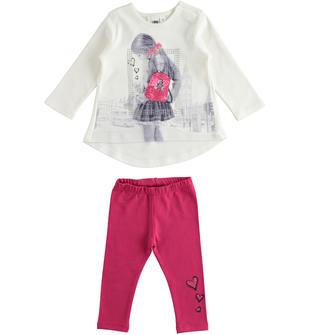 Completo bambina con t-shirt a manica lunga in interlock 100% cotone ido PANNA-0112