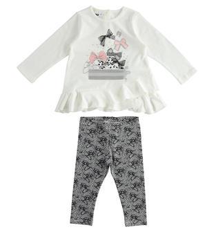 Completo bambina iDO t-shirt con doppia balza asimmetrica al fondo e leggings ido PANNA-0112