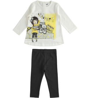 Completo bambina con t-shirt a manica lunga in cotone e leggings ido PANNA-0112