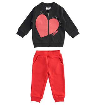 Tuta jogging per bambina con felpa con cuore e leggings ido NERO-0658