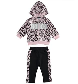 Tuta jogging bambina in felpina leggera con full zip stampa animalier ido ROSA-NERO-6NT1